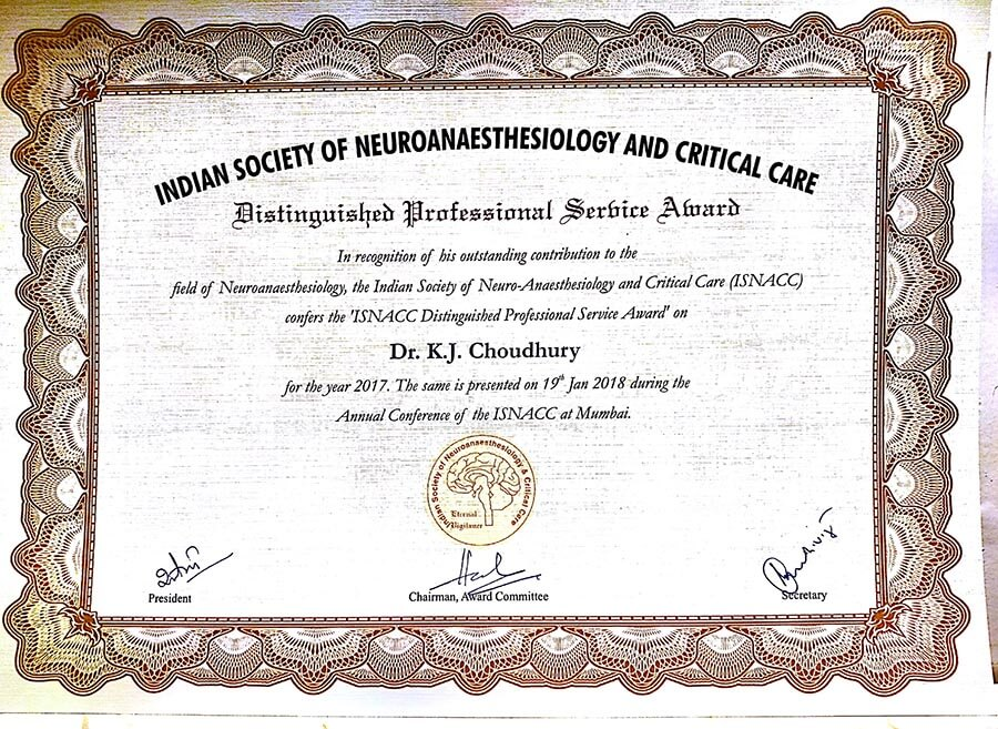 Dr. KJ Choudhury, Neuroanaesthesiologist, Apollo Hospitals - Delhi has been conferred with the ISNACC Distinguished Professional Service Award 2017